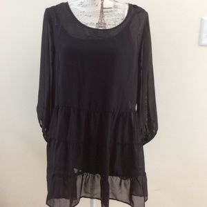 Sheer black blouse with attached tank and necklace